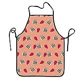 LarissaHi Cucina Regolabile Chef Grembiule-Miele Bee Strawberry Dots, Grembiule da Uomo e Donna Commerciale per Cucinare, Cuocere, Artigianato, Giardinaggio, BBQ