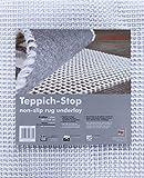 Teppich-Stop Antirutschmatte Teppichgleitschutz Teppichunterlage Haftgitter Rutschschutz, PVC beschichtetes Polyester, rutschhemmend zuschneidbar pflegeleicht strapazierfähig, weiß, 60 x 120 cm