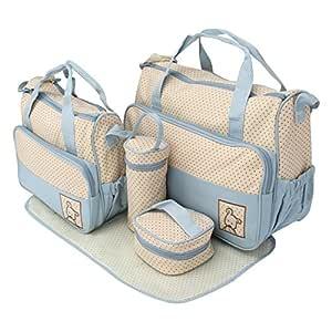 Iris Blue Print Large Multi-Purpose Diaper Bag with Matching Changing Mat , 5 Piece Set