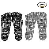 Männer Yoga Socken 5-toe mit Full Grip 2 Paar (M)