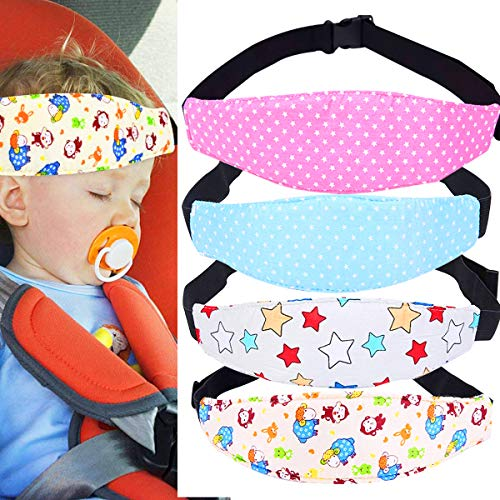 Baby Autositz Kopfband,Biluer 4PCS Einstellbare Kindersitz Befestigung Kinderautositz Kopfstütze für Kinder Nackenstützen Autositz Befestigung Gurtschutz Hilfe Komfortable Safe Sleep Lösung