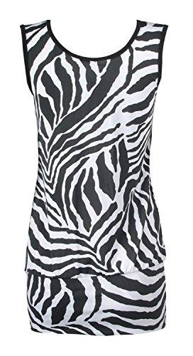 Fast Fashion Frauen Ärmellose Animal Zebra Druck Oben Leggings Anzug Kleid B & W Oben