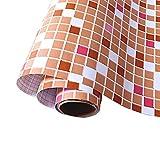 Wandtapete mit orangefarbenem Mosaik-Muster, wasserfest, selbstklebend, zum Aufkleben und Abziehen von Tapeten für Badezimmer, Wanddekoration, 61 x 118 cm