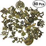 SUPVOX 80Pcs Wholesale Bulk Lots Jewelry Making Charms Mixed Alloy Charms Pendants for Necklace Bracelet Jewelry Finding and Crafting (Ancient Bronze, Mixed)