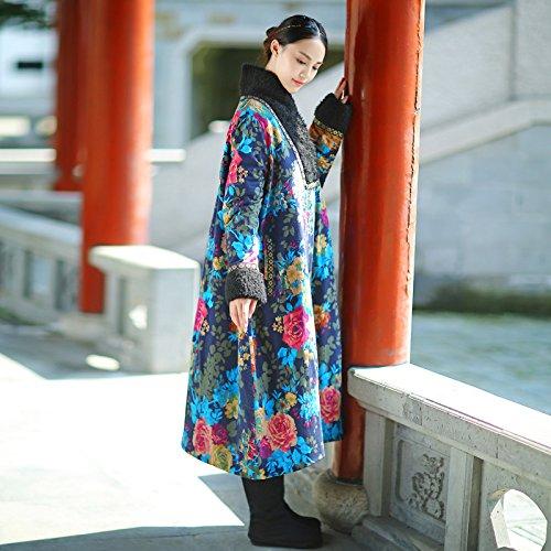 WTUS Femme Des Vêtements Chauds En Coton épais Vent National Bleu