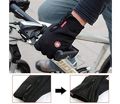 COTOP Guanti Invernali, Antivento Esterna Bicicletta Caccia Arrampicata Sportiva Touchscreen Guanti per Smartphone(Nero,Grande)