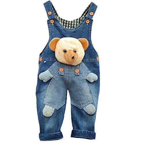 Baby Mädchen Latzhose Jeans Overall Bär Tierthema
