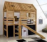 Hochbett Tom´s Hütte 1 Kinderbett mit Rutsche Spielbett Bett Natur Stoff Pirat