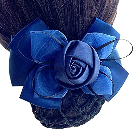 Ladies Flower Elastic Bun Cover Hairnets Handmade Snood Net Barrette Hair Clip, 3 Dark Blue