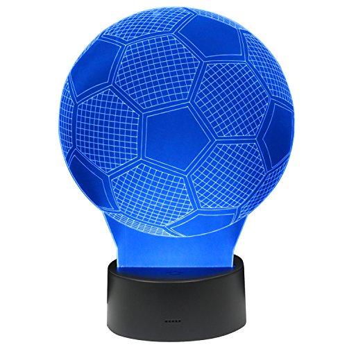 Trixes luce notturna multicolore a led 3d effetto illusione ottica a forma di pallone da calcio sensibile al tocco
