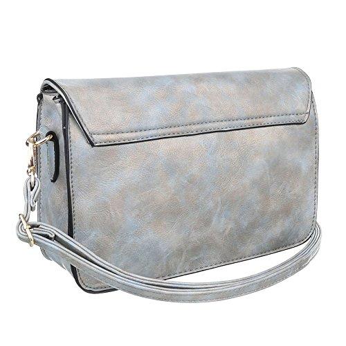 Damen Tasche, Schultertasche, Kleine Used Optik Umhängetasche, Kunstleder, TA-6160-29 Blau Silber