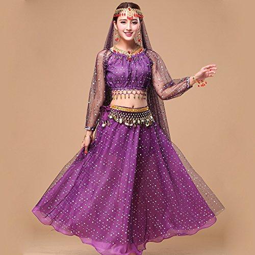ZTXY Professionelle Lady Belly Dance Kostüme Sets Indian Dance Dress Performance Kleid net Cloth Highlights lila 5-teiliges Set