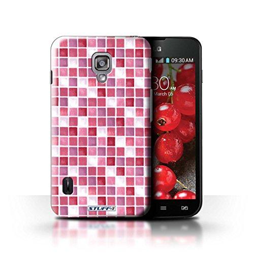 Kobalt® Imprimé Etui / Coque pour LG Optimus L7 II Dual / Violet/Blanc conception / Série Carreau Bain Rouge/Rose