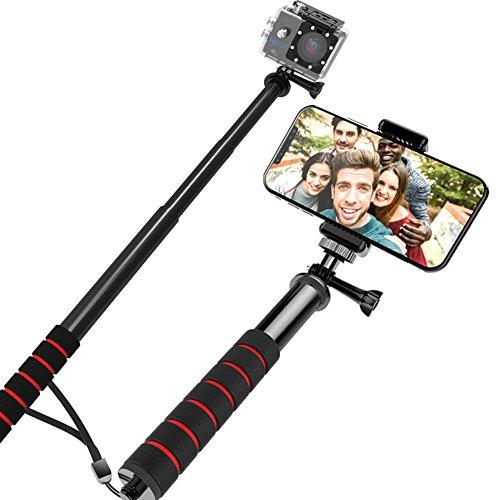 Hieha Palo Selfie Universal para Cámara Deportiva Móviles Antideslizante para Gopro hero 5 session 4 3+ / iPhone 5/ 6/ 7 Plus/ Samsung Huawei Xiaomi Bq Smartphone
