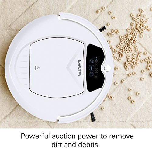 EVENTER Robotic Vacuum Cleaner, Tangle Free, Auto-Charged with Powerful Suction for Hard Wood Floor (White)