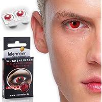 feiermeier Kontaktlinsen Black Witch - schwarze Farblinsen Schwarz ohne Stärke (1 Paar = 2 Stk.) - für Halloween, Fasching & Co.