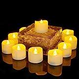 Benvo LED flammenlose Kerzen, 3.8cm elektrische flackernde batteriebetriebene teelichter, LED votivkerzen warme weiße, 12 Pack - 3