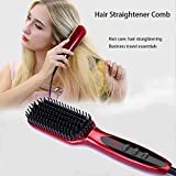 FUNWILL® Lonen Haarglätter Bürste, Keramik Glättungsbürste mit Elektrische Anti-Verbrühung-Heizung Keramik Stylingbürste und Glätteisen Bürste Geeignet für Alle Haartypen (rot)