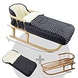 BAMBINIWELT KOMBI-ANGEBOT Holz-Schlitten mit Rückenlehne & Zugseil + universaler Winterfußsack (108cm), auch geeignet für Babyschale, Kinderwagen, Buggy, aus Wolle (schwarz weiße Punkte)