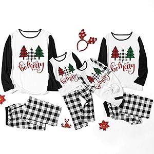 Kanlin1986 Navidad Conjunto De Pijamas A Juego Familiar Manga Larga Blusa Y TartáN Pantalones - Ropa De Dormir Nightwear Vacaciones Suit para Dad Mom NiñOs Bebé 13
