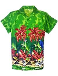 SAITARK – Camisa hawaiana para hombre, estampado veraniego con papagayos