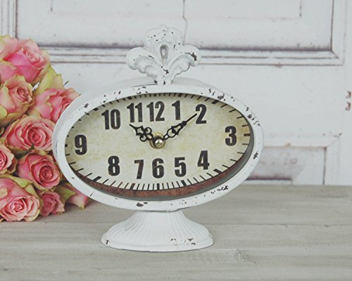 Uhr KRONE im antiken Shabby Chic Landhausstil, Weiße Tischuhr Wecker