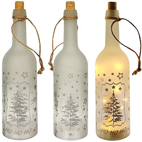 alles-meine.de GmbH Glas - LICHT Dekoflasche - 10 Stück LED - Weihnachten - Weihnachtsbaum - Lichtflasche / Flasche mit Licht - 30 cm - Batterie betrieben - warmweiß - Flaschenli.. -