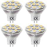 LE Pack de 4 bombillas LED MR11 GU4.0, 1.8W equivalencia 20W, haz de luz 120 grados, 165lm, blanco cálido