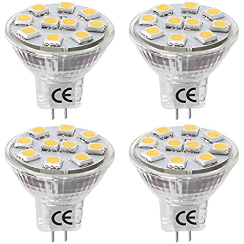 LE Bombillas GU4.0 LED 1.8W / 20W Halógena Blanco cálido MR11 Pack de 4