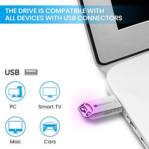 SAWAKE USB Chiavetta 32GB con Portachiavi, USB 3.0 Flash Drive impermeabile, USB stick, Mini LED Colorato Memory Stick adatto per Windows 7/8/10 / Vista/XP/Unix / 2000 / ME/NT Linux e Mac OS 9.X