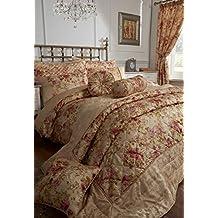 Versailles dormitorio colección edredón conjuntos con cortinas, colchas, de lujo, funda para cojín, rollo de cuello, cojín redondo (Super King juego de funda nórdica)