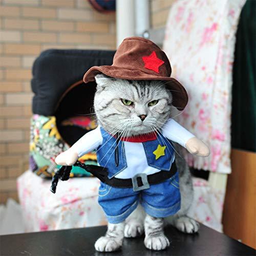 Hillento Cowboy Hundekostüm mit Hut, Cowboy Halloween Kostüme für Katze & Hund Cosplay, West Cowboy Uniform mit Hut (Katze Im Hut Dog Kostüm)