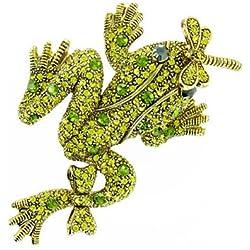 Verde en chapado en oro rana con libélula broche