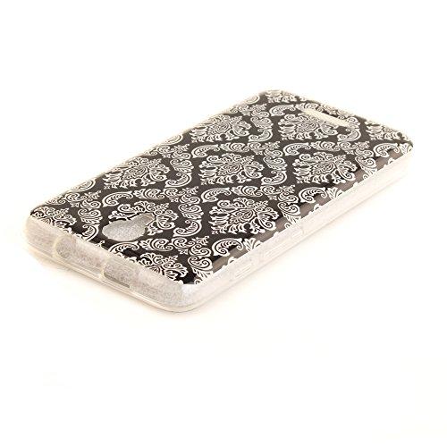 Alcatel Pixi 4 (5 Zoll) hülle,MCHSHOP Ultra Slim Skin Gel TPU hülle weiche Silicone Silikon Schutzhülle Case für Alcatel Pixi 4 (5 Zoll) - 1 Kostenlose Stylus (Schöner Panda) Weiße Totem Blume