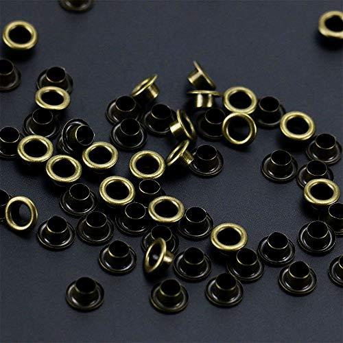 UTENEW 500 Stück Metall Schuhösen Kit, Silberösen Einstellungen, Einsetzen von Ösen in Kleidung Handwerk Leder DIY Projekte, kleine 3/16 Ösen 500 Pcs bronze (Druckknöpfe Aus Metall Antik-gold)