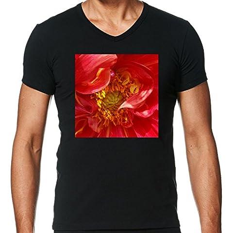 Camiseta V Cuello para Hombre - Pétalos Rojos by feiermar