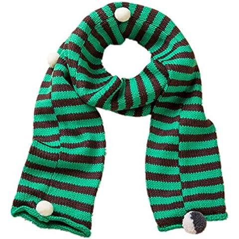 Autunno inverno lana calda sciarpa a righe per i bambini , green