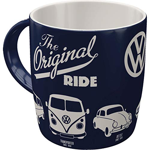 Retro Kaffee-Becher Volkswagen - VW Original Ride, Große Lizenz-Tasse mit tollem Bulli, Beetle & Golf Motiv, Geschenk-Idee für Vintage-Liebhaber, 330 ml ()