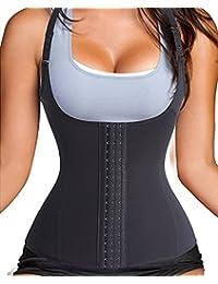 Fajas Reductoras Corset Cincher Bustiers Corsé Adelgazantes de Cinturón Formación para Body Shaper Mujer (negro/ Con Correas, 3XL ( Escoja según su cintura ))