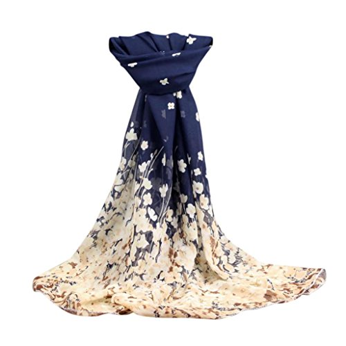 OverDose Mode Frauen Floral Lange Weiche Wrap Schal Damen Schal Chiffon Schals,A-Dark Blue (Mode Seide Frauen)