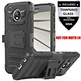 Moto E4 Plus Case With Tempered Glass Screen Protector,IDEA LINE(TM) Heavy Duty Armor Shock Proof Dual Layer Holster Locking Belt Swivel Clip with Kick Stand - Black