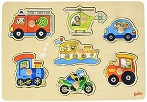 Goki-57491 Puzzles de Madera Encaje, Medios de Transporte, (4013594574914)