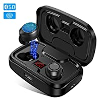 Wireless Earbuds, GRDE Headphone Bluetooth 5.0 with HD HiFi Stereo CVC8.0 Noise Canceling Bluetooth Headsets with Mic 105H Playtime LED Display 3000mAh Charging Case for iPhone Android Sports Business
