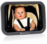 Systemoto Rücksitzspiegel Babyschale - Universal Auto Babyspiegel für Kindersitz - Bruchsicherer Spiegel Baby Auto Rücksitz - Autospiegel Baby Rückspiegel (Schwarz)