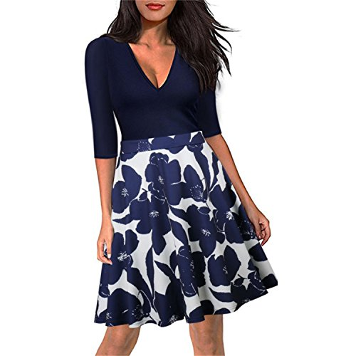 NALATI Sommerkleid Damen Knielang 1/2 Arm V-Ausschnitt Blumendruckt 50s Vintage Swing Partykleider 3