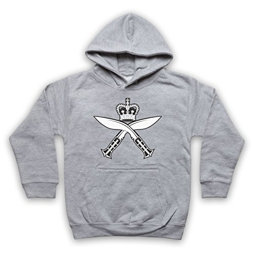 Gurkha Regimental Insignia Badge Logo Kinder Kapuzensweater, Grau, 5-6 Jahren (32-zoll-tv Insignia)
