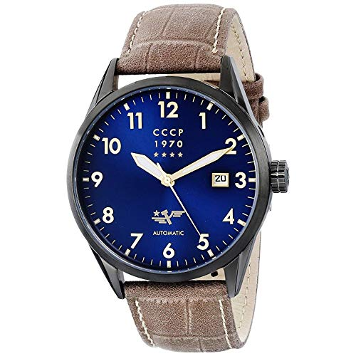 CCCP Men's Submarine 46mm Leather Band Steel Case Automatic Watch CP-7015-08