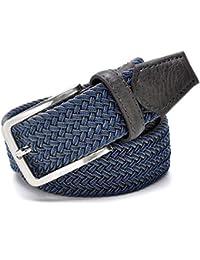Cinturón elástico azul elástico de los hombres Cinturón de lona elástico  trenzado tejido elástico trenzado 1 ead376cabcd2
