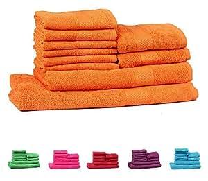 Trident Orange 10 Pcs Towel Set