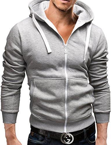 MERISH Trainingsanzug Herren Jogginganzug Sportanzug Männer Baumwolle Jungen Slim Fit 08 + 12 (M, 12 Grau-Weiß)